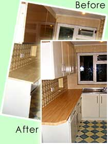 before and after kitchen cabinet door replacement